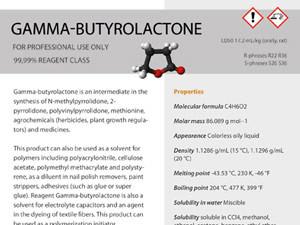 Etiket Reagent Solutions | Gamma Butyrolactone – 146×183