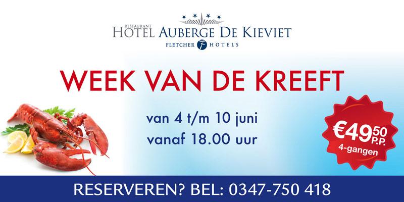 Banner Fletcher Hotel Auberge de Kieviet | Spandoek Week van de kreeft - 4000x2000