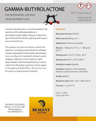 Etiket Reagent Solutions | Gamma Butyrolactone - 146x183