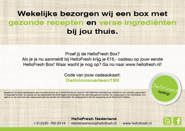 Flyer HelloFresh | Giftcard Delicious - dubbelzijdig 148x210 achter