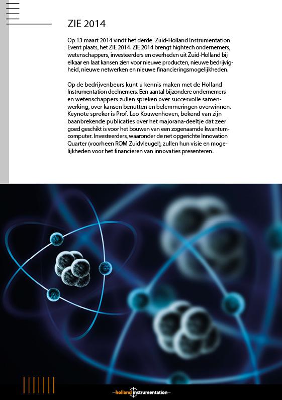Folder Holland Instrumentation | Uitnodiging ZIE2014 - 2