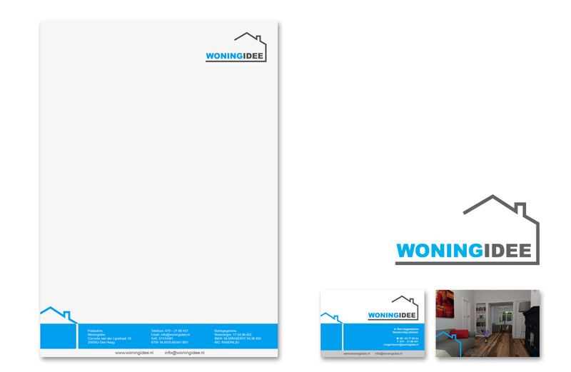Huisstijl Woningidee   Logo, briefpapier & visitekaartje