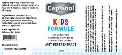 Verpakking Capsinol | Kids formulie etiket - 83x38 1