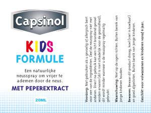Verpakking Capsinol | Kids formulie etiket – 83×38